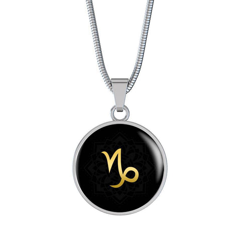 Gold on Black Capricorn Zodiac Astrology Pendant Necklace - Lyghtt