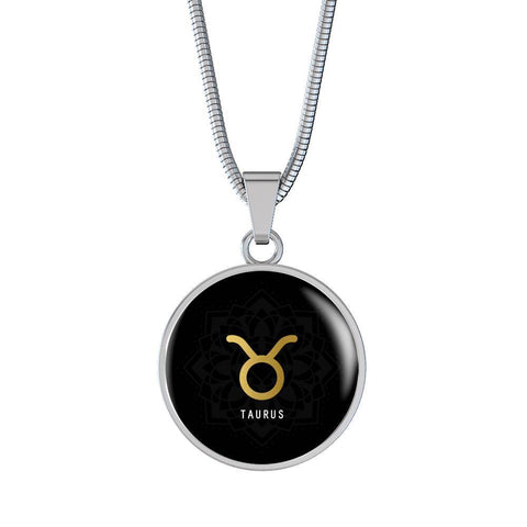 Gold on Black Taurus Zodiac Astrology Pendant Necklace - Lyghtt