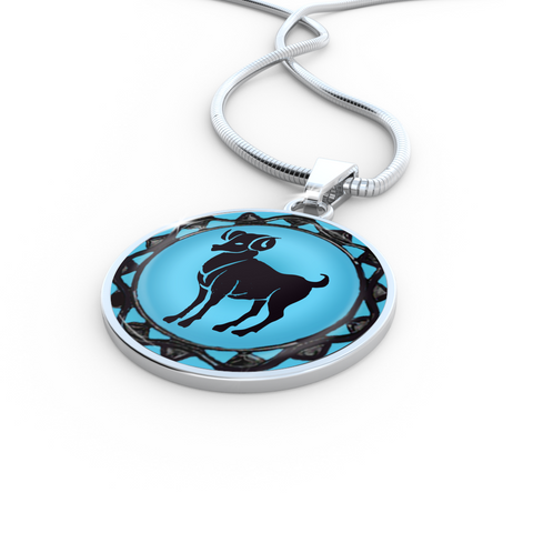 Aries Blue Zodiac Sign Pendant Necklace - Lyghtt