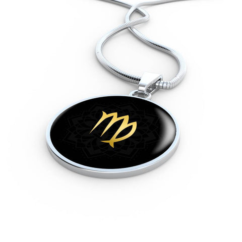 Gold on Black Virgo Zodiac Astrology Pendant Necklace - Lyghtt