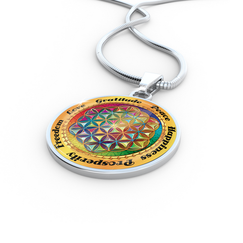 Affirmation Flower of Life Pendant Necklace - Lyghtt