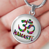 Image of Namaste Om Symbol Pendant Necklace with Engraved Personalization - Lyghtt