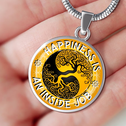 Happiness Is An Inside Job Gold Tree of Life Pendant Charm Necklace - Lyghtt
