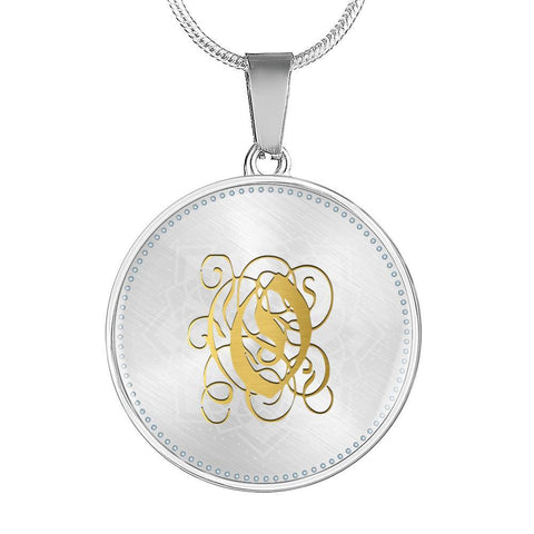 Round Pendant Necklace with Gold O Initial, Personalized Monogram & Name
