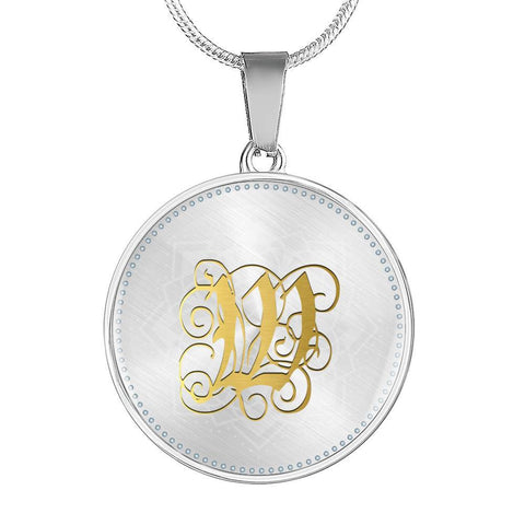Round Pendant Necklace with Gold W Initial, Personalized Monogram & Name - Lyghtt