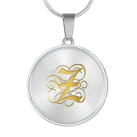 Round Pendant Necklace with Gold Z Initial, Personalized Monogram & Name - Lyghtt