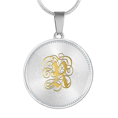 Round Pendant Necklace with Gold R Initial, Personalized Monogram & Name - Lyghtt