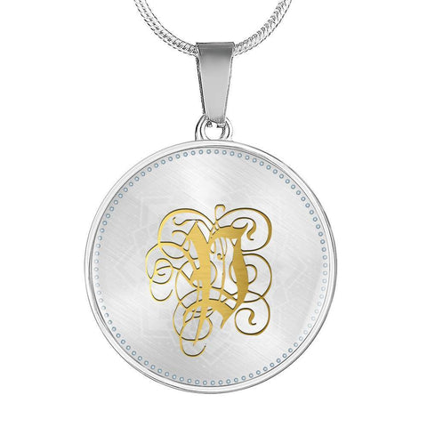 Round Pendant Necklace with Gold P Initial, Personalized Monogram & Name