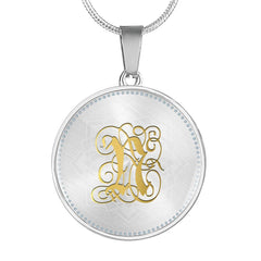 Round Pendant Necklace with Gold N Initial, Personalized Monogram & Name