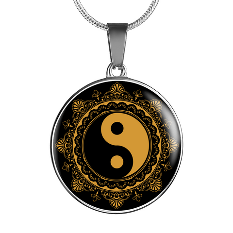 Black & Gold Ying Yang Charm Necklace - Lyghtt
