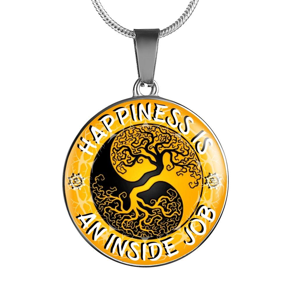 Happiness Is An Inside Job Gold Tree of Life Pendant Necklace