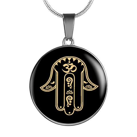 Protection Gold on Black Hamsa Hand Symbol Pendant Necklace - Lyghtt