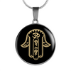Image of Protection Gold on Black Hamsa Hand Symbol Pendant Necklace - Lyghtt