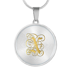 Round Pendant Necklace with Gold X Initial, Personalized Monogram & Name