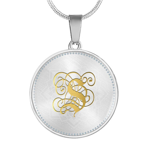 Round Pendant Necklace with Gold S Initial, Personalized Monogram & Name