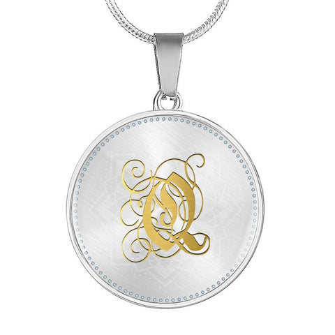 Round Pendant Necklace with Gold Q Initial, Personalized Monogram & Name
