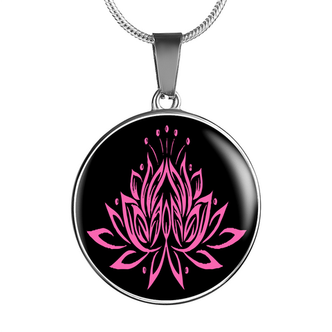 Pink on Black Lotus Pendant Necklace - Lyghtt