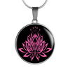 Image of Pink on Black Lotus Pendant Necklace - Lyghtt