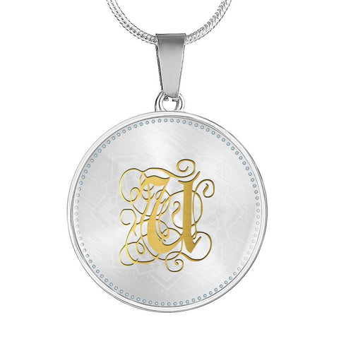 Round Pendant Necklace with Gold U Initial, Personalized Monogram & Name - Lyghtt