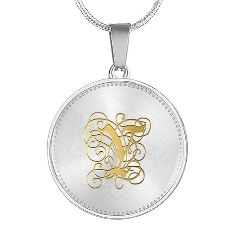 Round Pendant Necklace with Gold Y Initial, Personalized Monogram & Name - Lyghtt