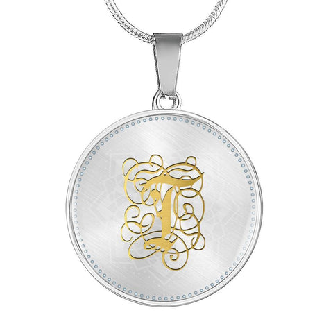 Round Pendant Necklace with Gold T Initial, Personalized Monogram & Name