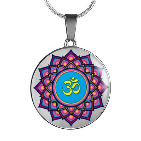 Mandala Om Lotus Flower Pendant Charm Necklace - Lyghtt
