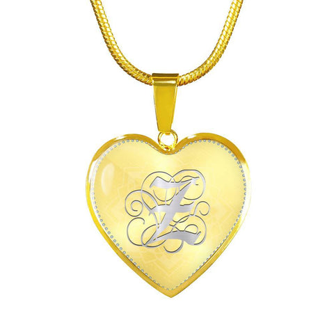 Heart Pendant Necklace with Silver Z Initial, Personalized, Monogram & Name