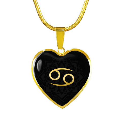 Gold on Black Cancer Zodiac Astrology  Heart Pendant Necklace - Lyghtt