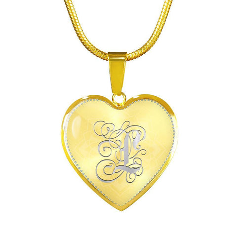 Heart Pendant Necklace with Silver Initial, Personalized, Monogram & Name L