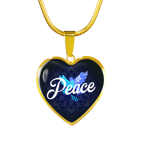 Peace Heart Style Gold Charm Necklace - omfinite
