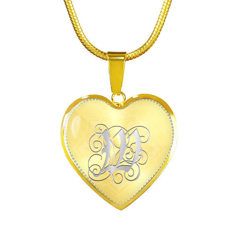 Heart Pendant Necklace with Silver W Initial, Personalized, Monogram & Name