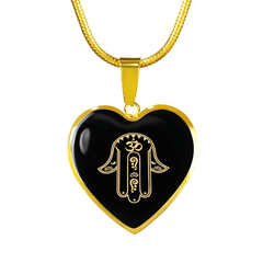 Golden Hamsa Hand Heart Pendant Necklace - Lyghtt