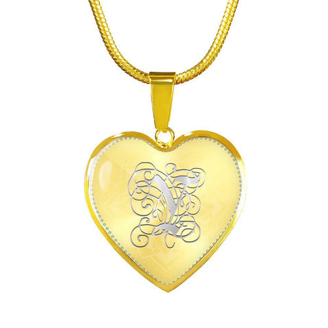 Heart Pendant Necklace with Silver Y Initial, Personalized, Monogram & Name - Lyghtt