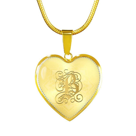 Heart Pendant Necklace with Gold B Initial, Personalized Monogram & Name