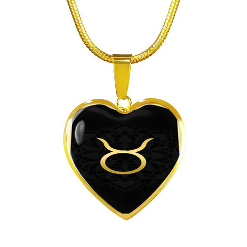 Gold on Black Taurus Zodiac Astrology  Heart Pendant Necklace - Lyghtt