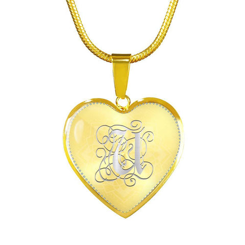 Heart Pendant Necklace with Silver U Initial, Personalized, Monogram & Name