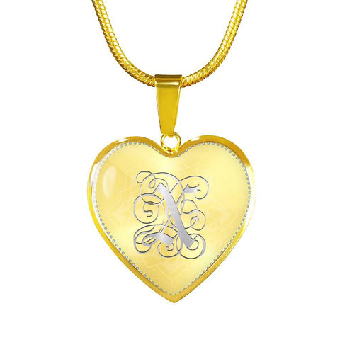 Heart Pendant Necklace with Silver X Initial, Personalized, Monogram & Name