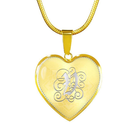 Heart Pendant Necklace with Silver V Initial, Personalized, Monogram & Name - Lyghtt