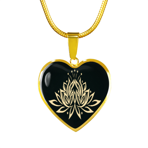 Golden Lotus Flower Heart Pendant Necklace - Lyghtt