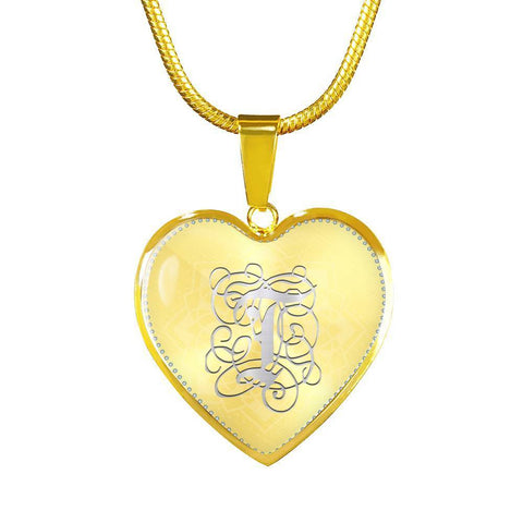 Heart Pendant Necklace with Silver T Initial, Personalized, Monogram & Name - Lyghtt