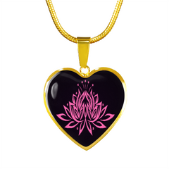 Pink Lotus Flower Heart Pendant Necklace - omfinite gift idea
