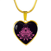 Image of Pink Lotus Flower Heart Pendant Necklace - omfinite gift idea