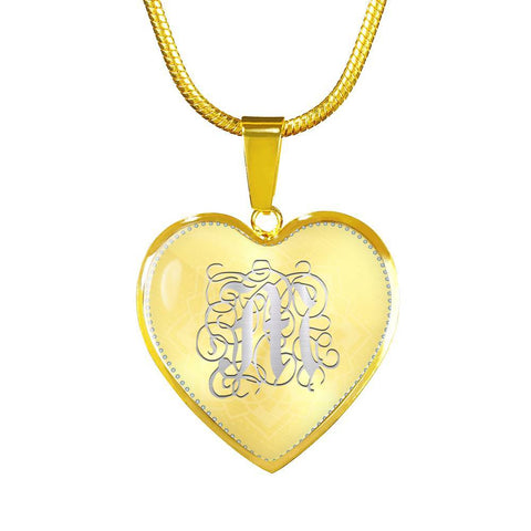 Heart Pendant Necklace with Silver Initial, Personalized, Monogram & Name M