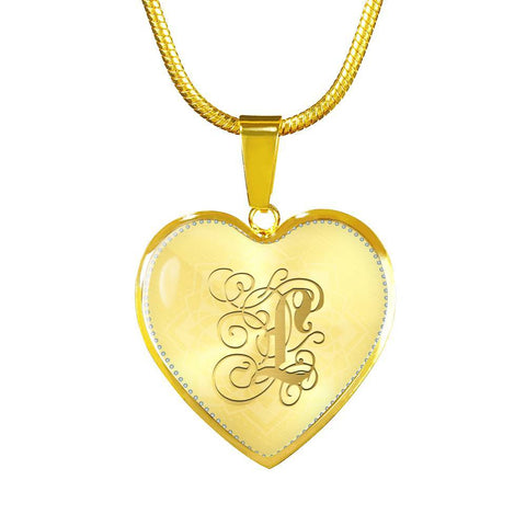 Heart Pendant Necklace with Gold L Initial, Personalized Monogram & Name - Lyghtt