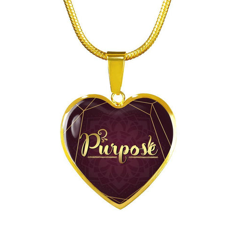 purpose heart style words of intent gold charm necklace, omfinite