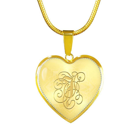 Heart Pendant Necklace with Gold J Initial, Personalized Monogram & Name