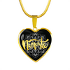 Image of Gold Namaste Lotus Flower Heart Shape Charm Necklace - Lyghtt