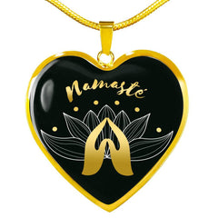 Namaste with Praying Hand Heart Pendant Necklace
