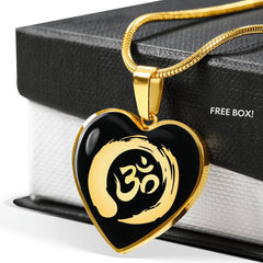 Golden Simple Om Symbol Heart Pendant Necklace