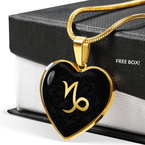Gold on Black Capricorn Zodiac Astrology  Heart Pendant Necklace - Lyghtt